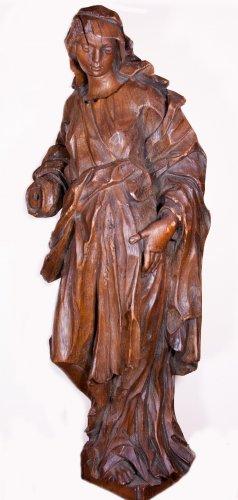 Pair of allegorical figures in oak, circa 1730 - Sculpture Style Louis XIV