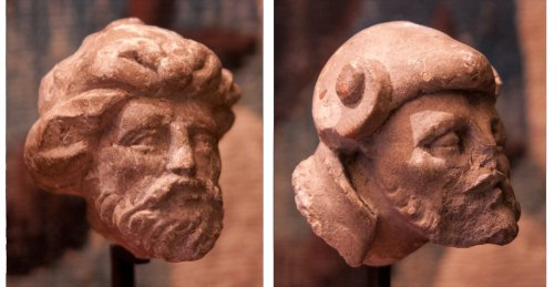 Two limestone carved heads circa 1530, attributed to the Master of Rumilly
