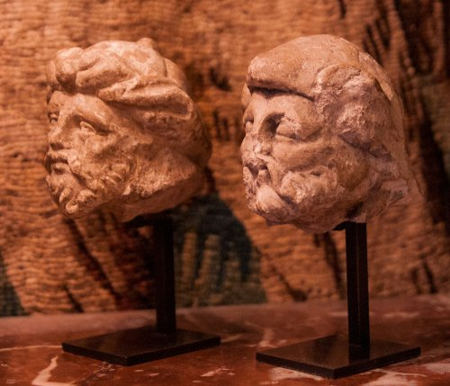 Sculpture  - Two limestone carved heads circa 1530, attributed to the Master of Rumilly