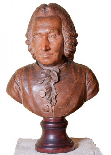Terracotta bust of elderly Jean-Jacques Rousseau by J-B Budelot 1775