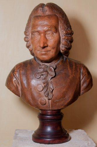 Terracotta bust of elderly Jean-Jacques Rousseau by J-B Budelot 1775 - Sculpture Style Louis XVI