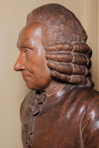 Sculpture  - Terracotta bust of elderly Jean-Jacques Rousseau by J-B Budelot 1775