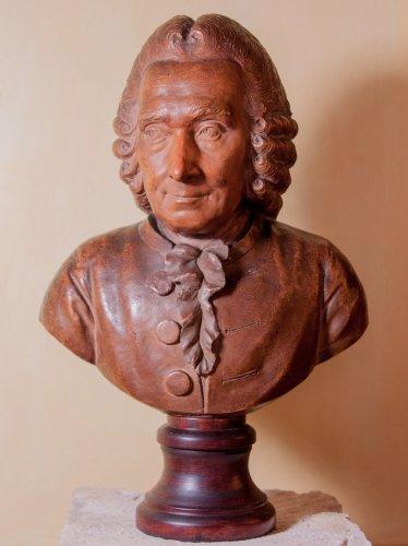 Terracotta bust of elderly Jean-Jacques Rousseau by J-B Budelot 1775 - Louis XVI