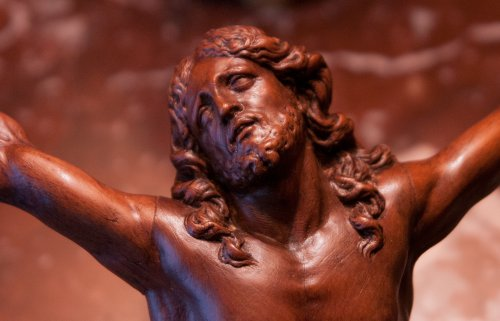 Religious Antiques  - Fruitwood Christ corpus attributed to César Bagard (1620-1709)