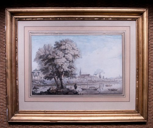 Animated Banks View, - R-B. de Baraignie, 1781 - Paintings & Drawings Style Louis XVI