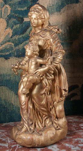 18th century - Virgin and Child in carved and gilt wood, circa 1700