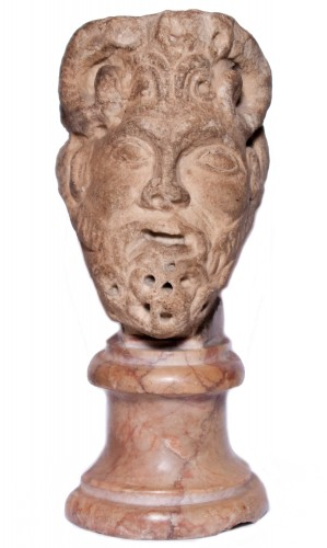 Janiform marble head, Italy, 12th-13th century
