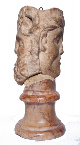 Janiform marble head, Italy, 14th-15th century - Sculpture Style Renaissance