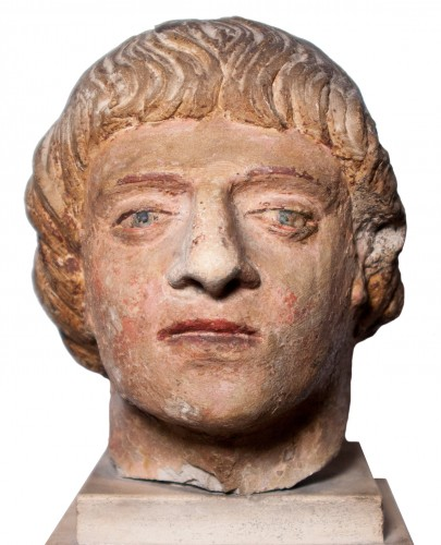 Head of a man in polychrome limestone, fifteenth century
