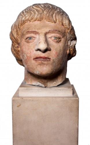 Sculpture  - Head of a man in polychrome limestone, fifteenth century