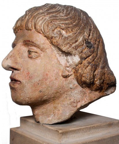 Head of a man in polychrome limestone, fifteenth century -