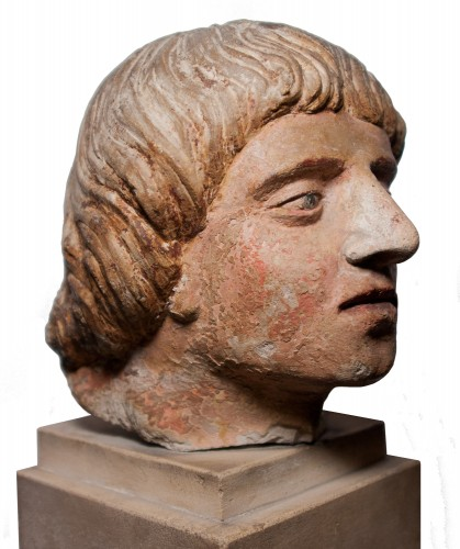 Head of a man in polychrome limestone, fifteenth century - Middle age