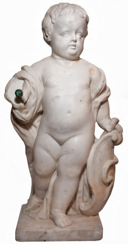 Marble child statue, Italy, late 18th century