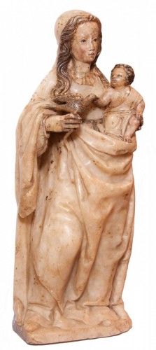 Virgin and Child in alabaster c. 1500 aragonese or burgalese school