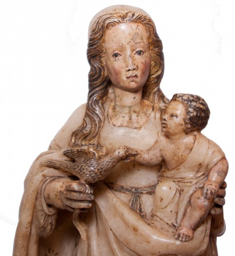Sculpture  - Virgin and Child in alabaster c. 1500 aragonese or burgalese school