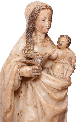 Virgin and Child in alabaster c. 1500 aragonese or burgalese school -