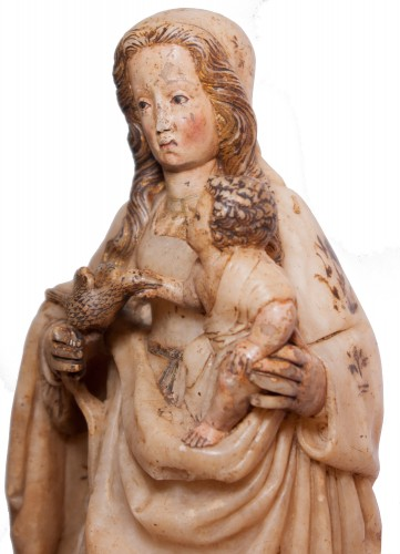 16th century - Virgin and Child in alabaster c. 1500 aragonese or burgalese school