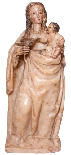 Virgin and Child in alabaster c. 1500 aragonese or burgalese school - Renaissance