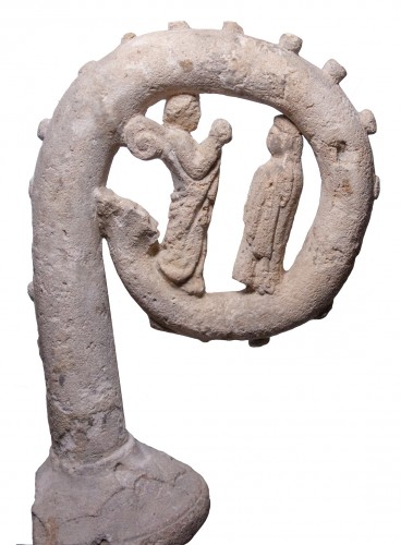 Limestone crosier inspired by a Limoges crosier circa 1300 - Sculpture Style Middle age