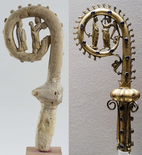 Sculpture  - Limestone crosier inspired by a Limoges crosier circa 1300