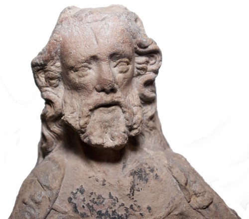 Sculpture  - High relief depicting a seated prophet circa 1400