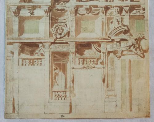 Paintings & Drawings  - Quadratura decoration project, Italy circa 1640-1650