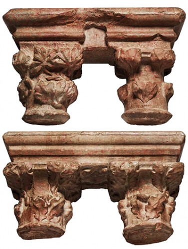 Pair of geminate capitals in Languedoc marble, 15th century