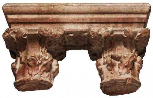 Pair of geminate capitals in Languedoc marble, 15th century - Architectural & Garden Style Middle age