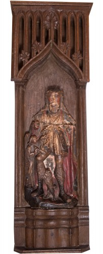 St Roch panel in painted alabaster, Nottingham XVth c. - Sculpture Style Middle age