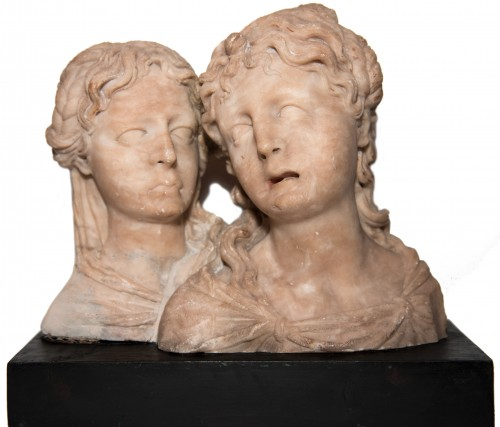Pair of feminine busts, alabaster, Southern Netherlands circa 1550