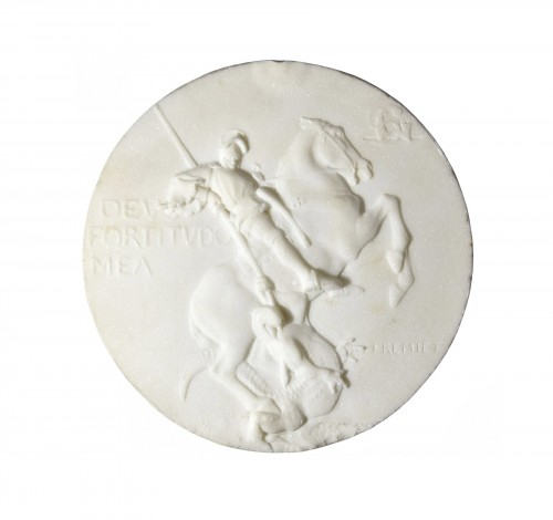 Emmanuel Frémiet (1824-1910) - Marble medallion depicting St Georges slaying the dragon
