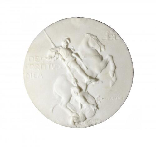 Emmanuel Frémiet (1824-1910) - Marble medallion depicting St Georges slaying the dragon