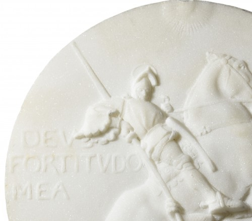 Emmanuel Frémiet (1824-1910) - Marble medallion depicting St Georges slaying the dragon -