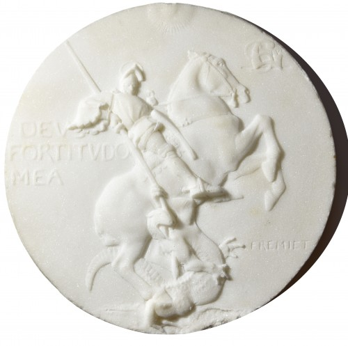 19th century - Emmanuel Frémiet (1824-1910) - Marble medallion depicting St Georges slaying the dragon