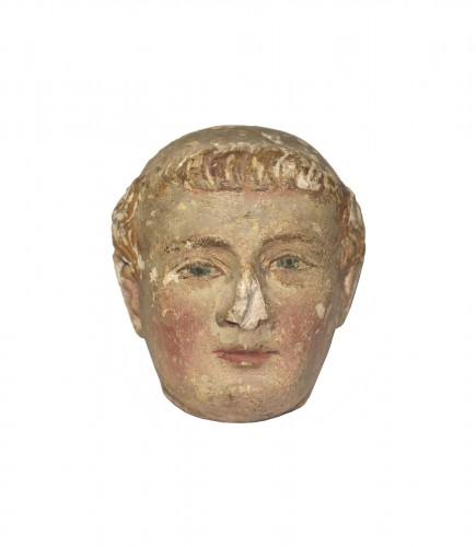 XIV Th C. Limestone Head Of A Monk With Polychromy