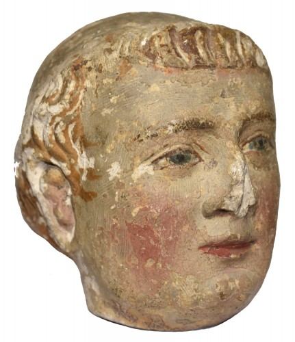 XIV Th C. Limestone Head Of A Monk With Polychromy - Sculpture Style Middle age