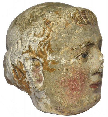 Sculpture  - XIV Th C. Limestone Head Of A Monk With Polychromy