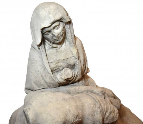 15th century limestone Pieta - Sculpture Style Middle age