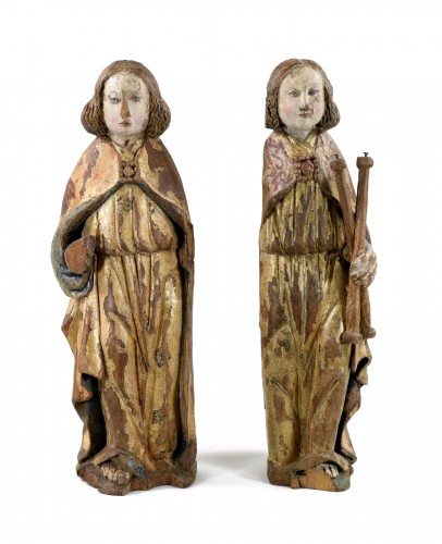 Pair of gilt and polychrome wood angels circa 1500