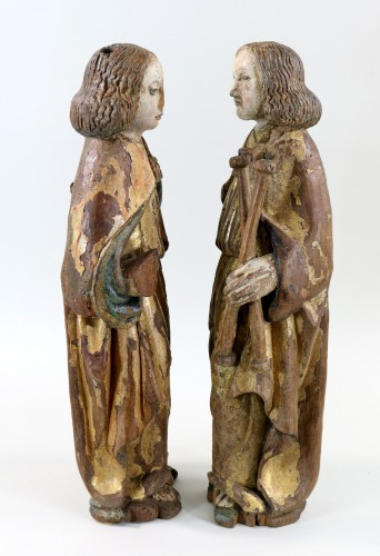 Sculpture  - Pair of gilt and polychrome wood angels circa 1500