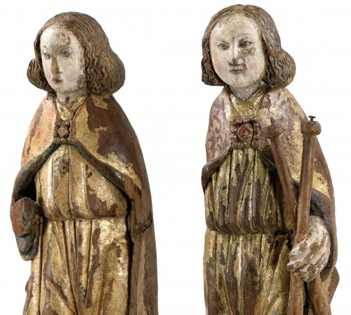 16th century - Pair of gilt and polychrome wood angels circa 1500
