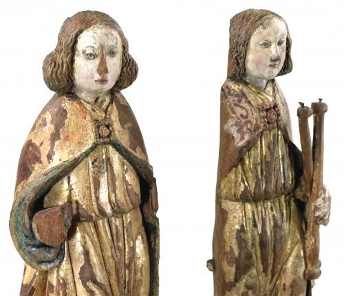 Pair of gilt and polychrome wood angels circa 1500 - Renaissance