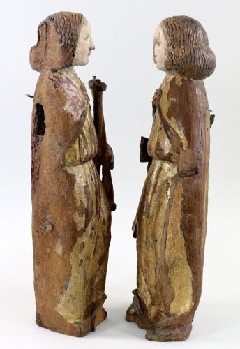 Renaissance - Pair of gilt and polychrome wood angels circa 1500