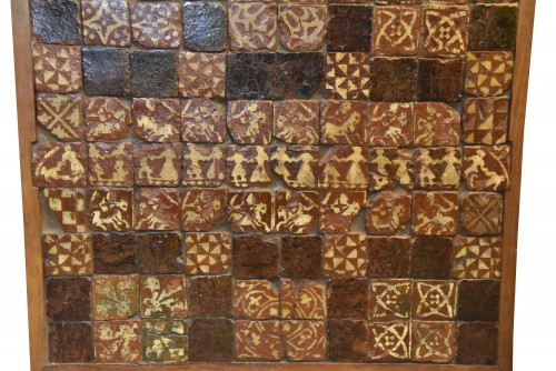 Architectural & Garden  - Set of 90 medieval tiles of the fourteenth century