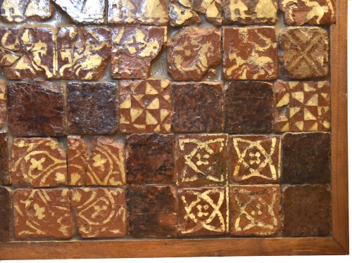 Set of 90 medieval tiles of the fourteenth century -