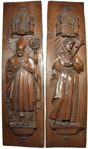 Stall panels around 1600, Bishop and St. Francis of Assisi