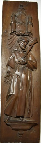 Stall panels around 1600, Bishop and St. Francis of Assisi - Sculpture Style Renaissance