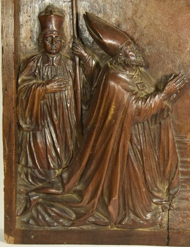Sculpture  - Saint Martin of Tours and the fall of the idols, wood relief.