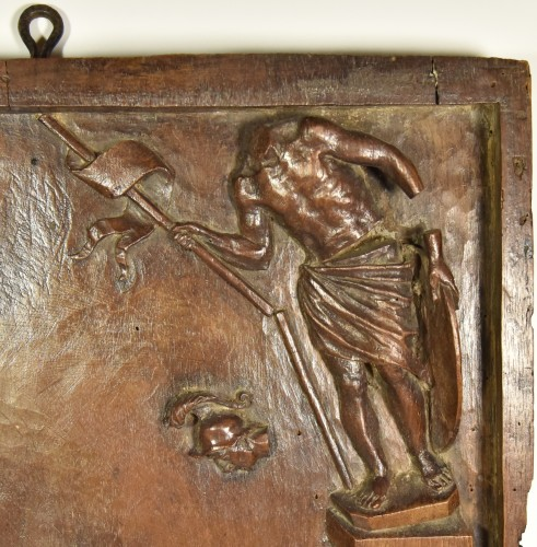 Saint Martin of Tours and the fall of the idols, wood relief. -