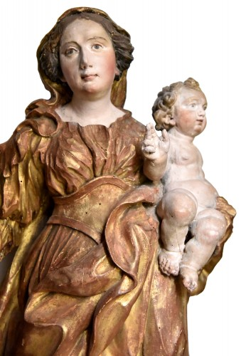 Large Madonna of Procession, Italian school of the eighteenth century - Sculpture Style French Regence